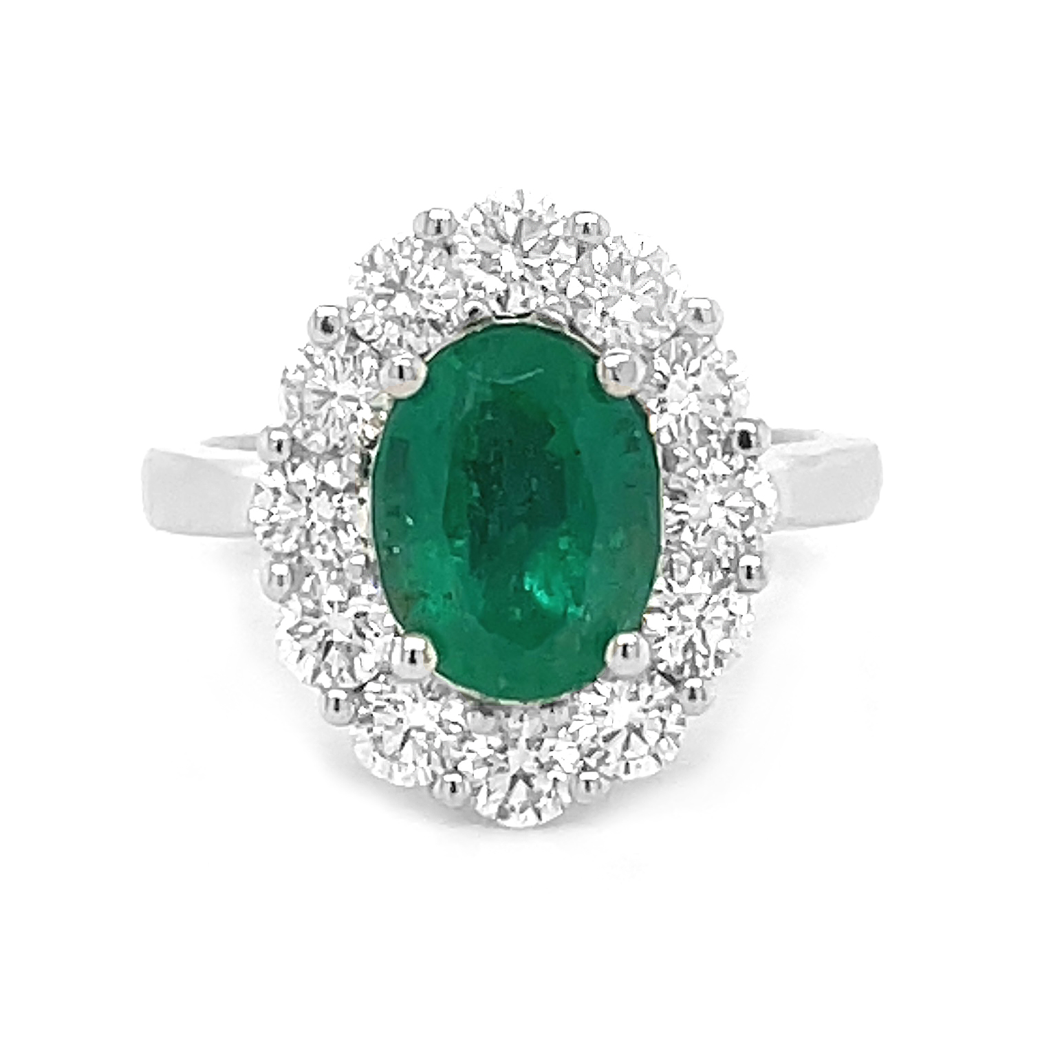 18k White Gold 1.88cts Oval Emerald & Diamond Cluster Ring