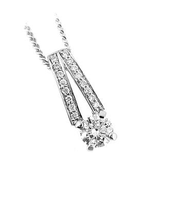 White Gold Pendant On Chain With Brilliant Cut Diamonds