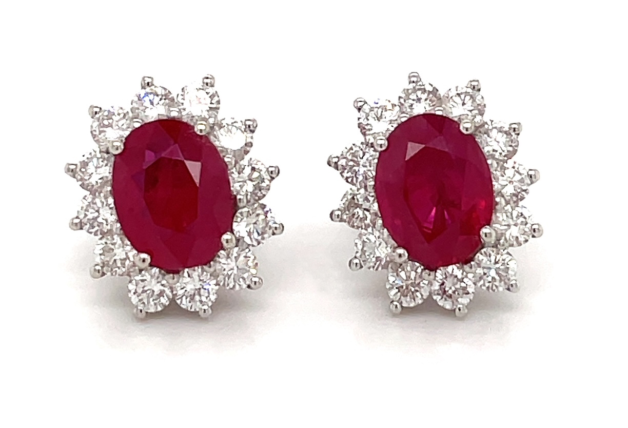 3.02cts Ruby Stud Earrings In A Claw Setting With 1.19cts Diamonds