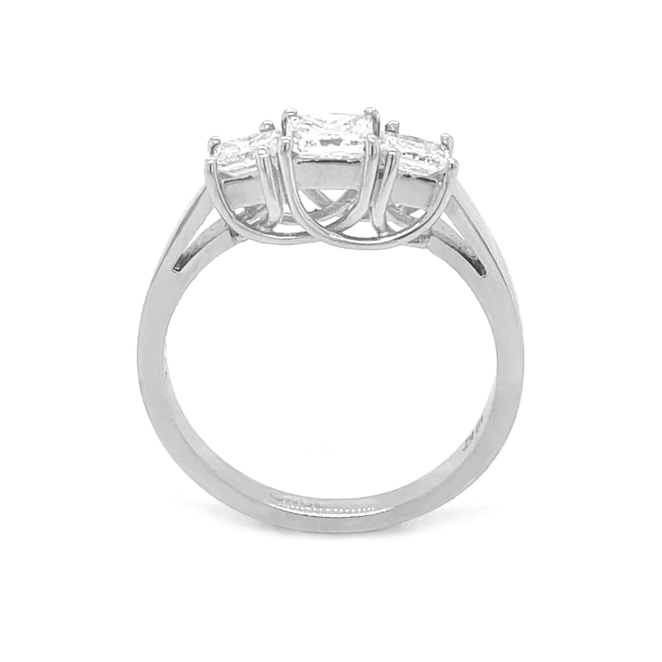 18k White Gold 3 Stone Princess Cut Diamond Ring