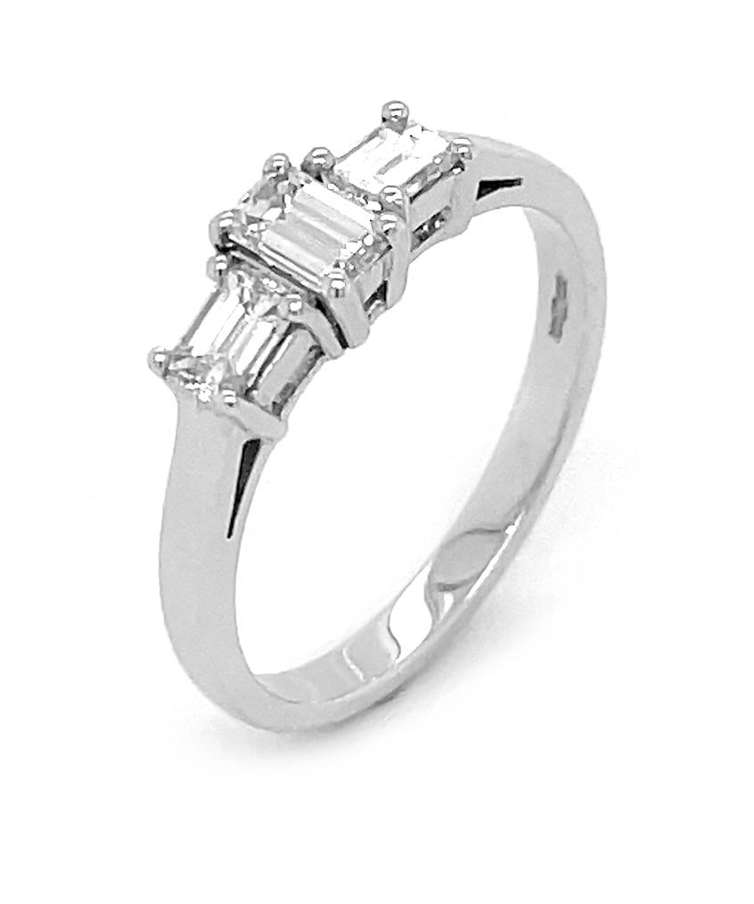 18k White Gold 3 Stone Emerald Cut Diamond Ring
