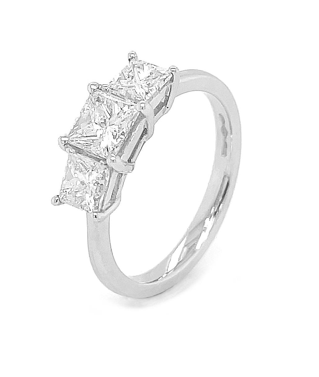 Platinum 3 Stone Princess Cut Diamond Ring