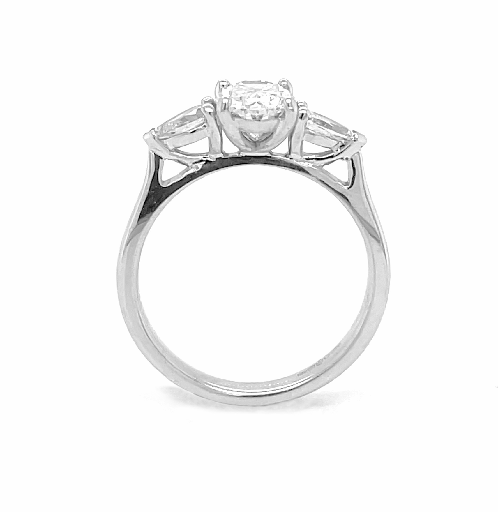 18k White Gold Oval Diamond Engagement Ring With Pearshape Diamond Shoulders