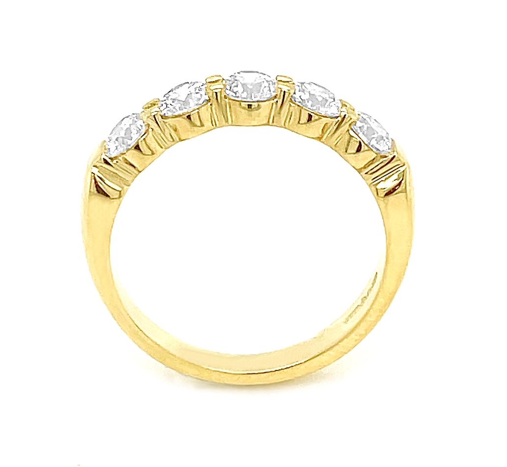18k Yellow Gold 5 Stone Brilliant Cut Diamond Ring