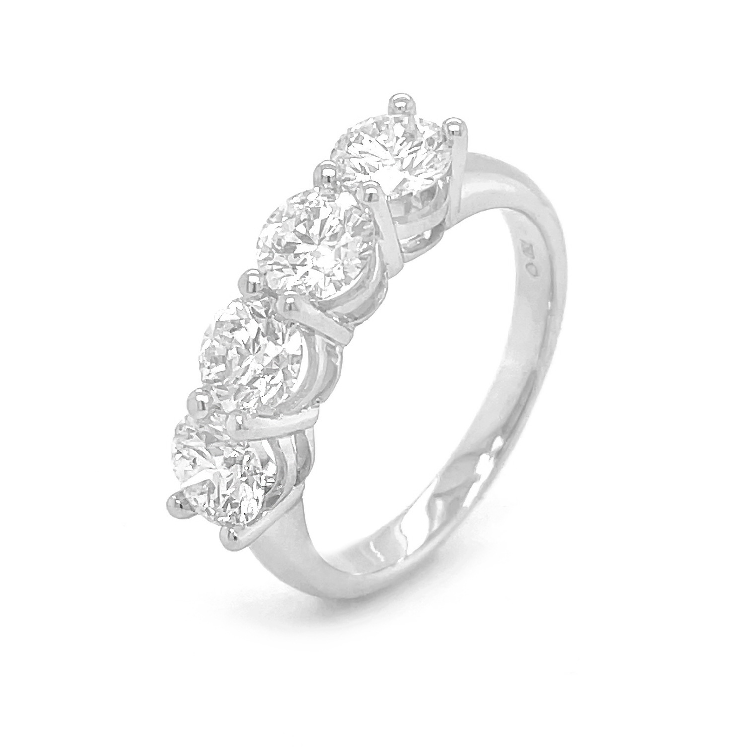 18k White Gold 4 Stone Brilliant Cut Diamond Ring