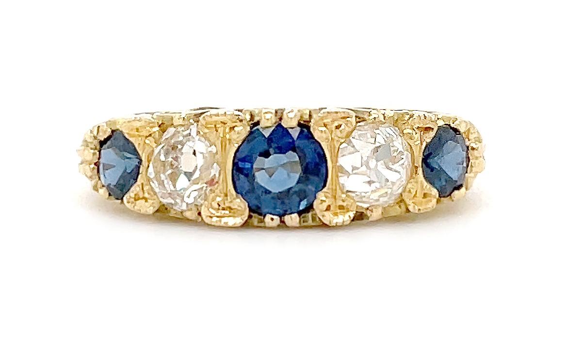 18k Yellow Gold 5 Stone Round Sapphire & Brilliant Cut Diamond Antique Style Ring