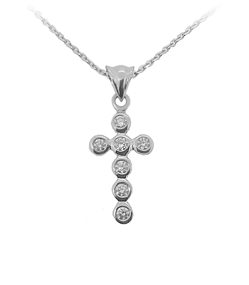 9k White Gold 7 Stone Brilliant Cut Diamond Cross Pendant On Chain