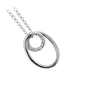 9k White Gold Brilliant Cut Diamond Loop Pendant On Chain