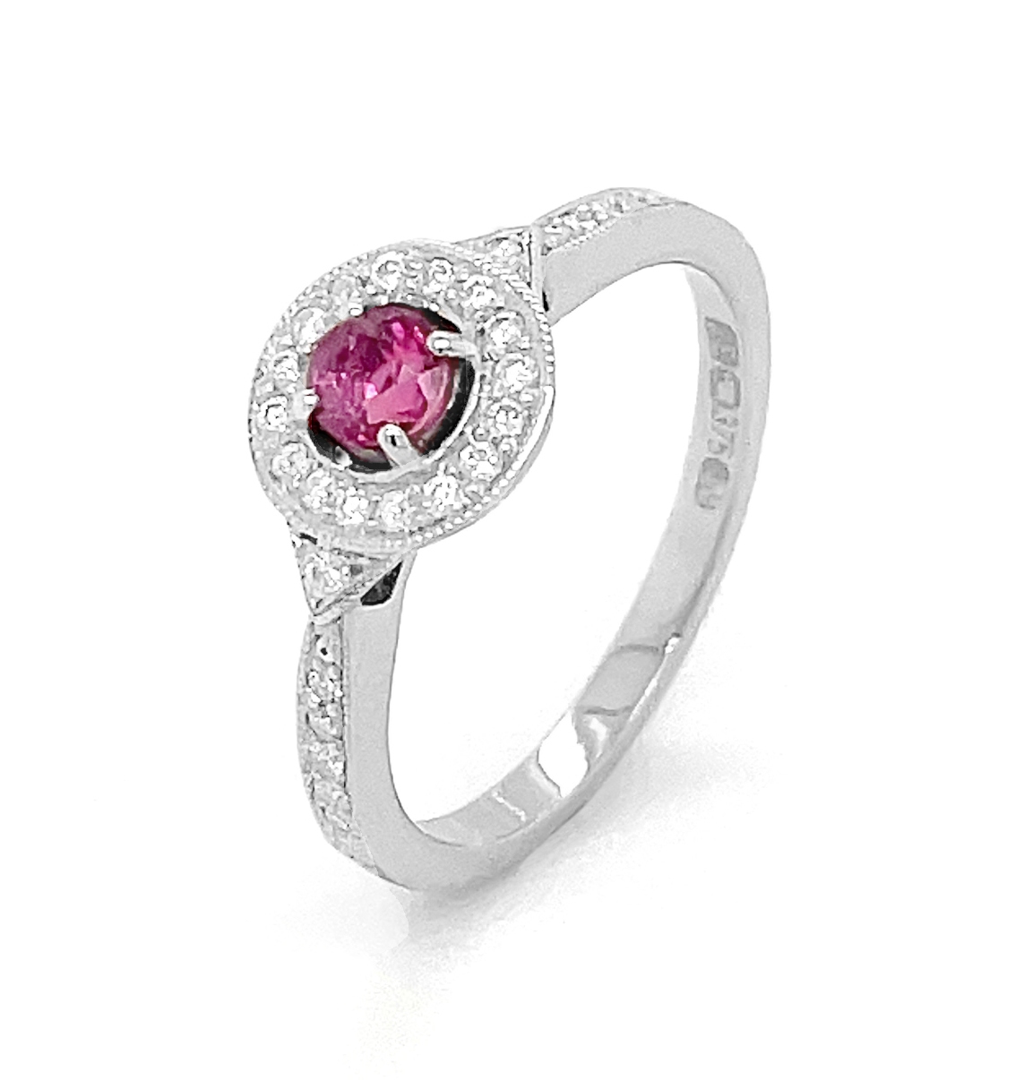 Ruby And Diamond Cluster Ring In 9k White Gold