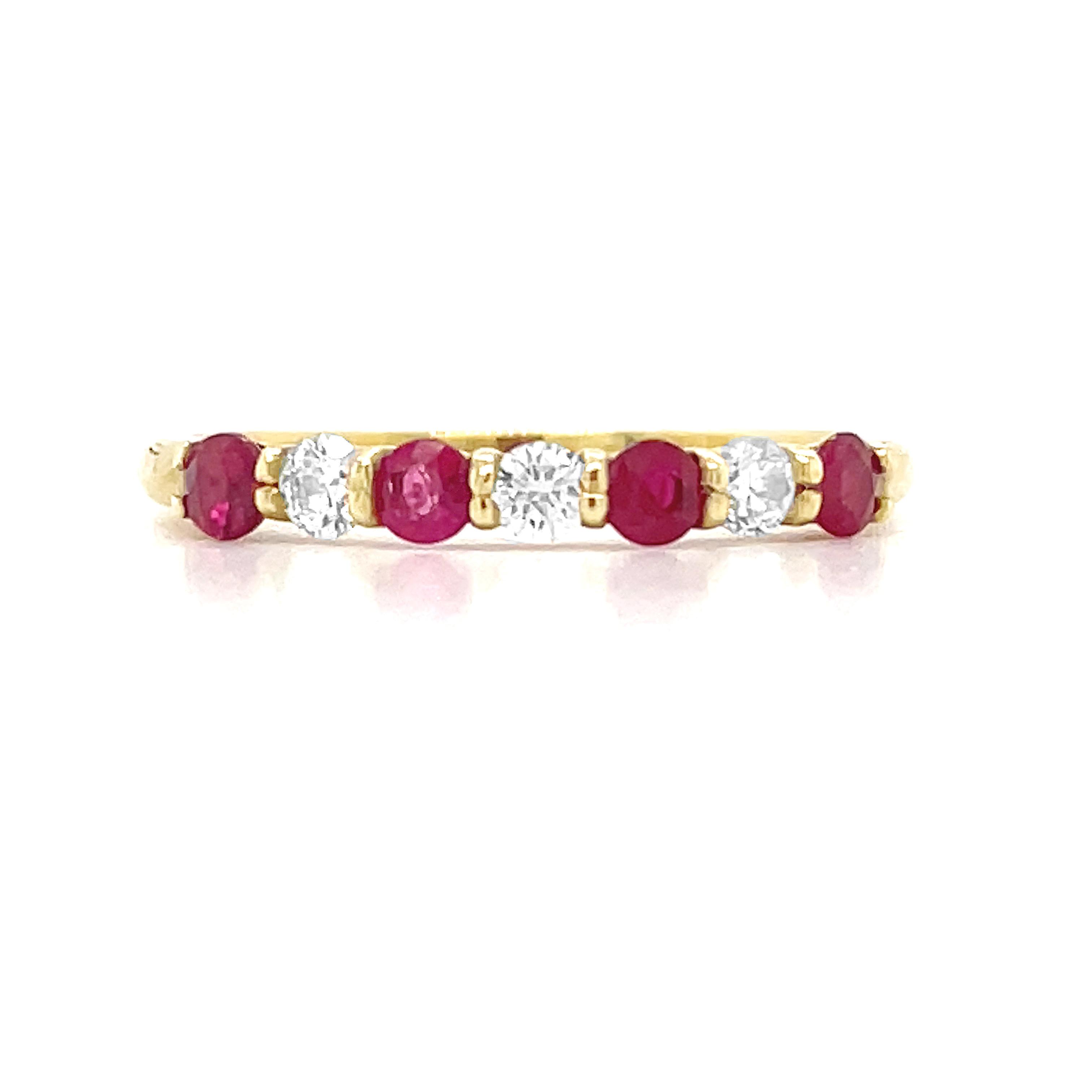 9k Yellow Gold 7 Stone Round Ruby & Brilliant Cut Diamond Ring
