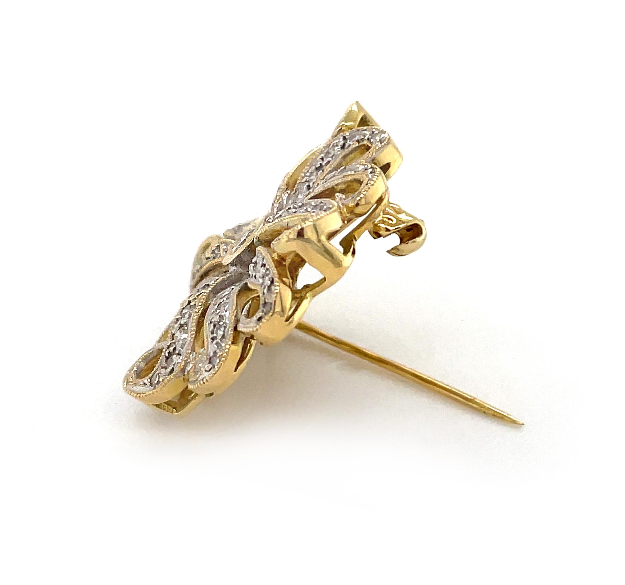 18k Yellow Gold Brilliant Cut Diamond Flower Brooch
