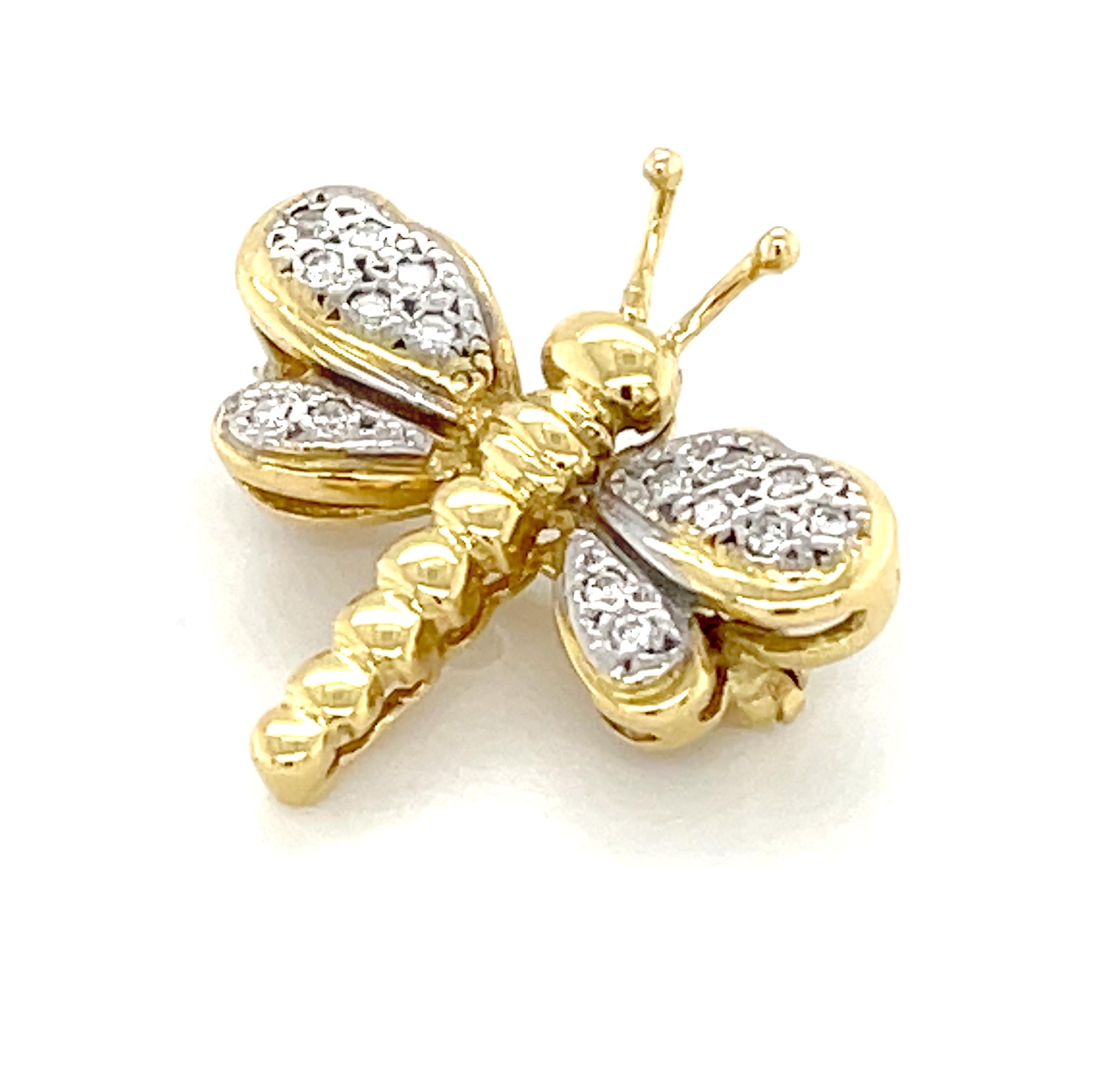 18k Yellow Gold Diamond Dragonfly Brooch