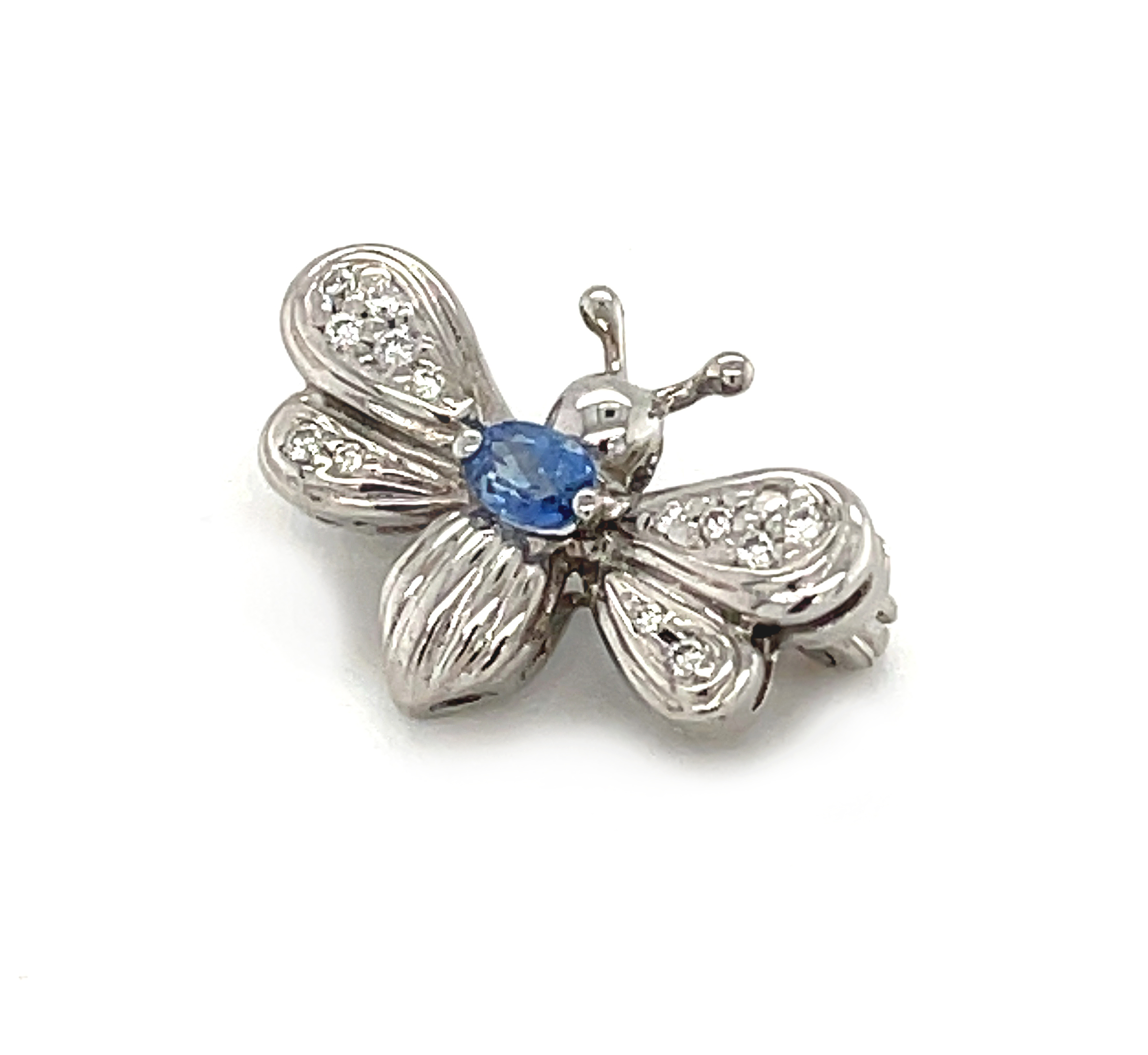 18k White Gold Sapphire & Diamond Butterfly Brooch