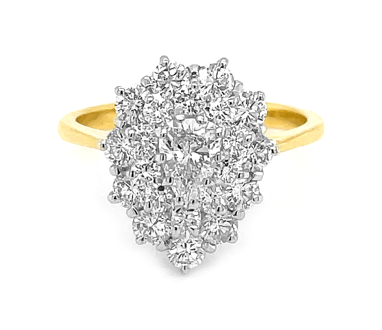 18k Yellow & White Gold Pearshape & Brilliant Cut Diamond Cluster Ring