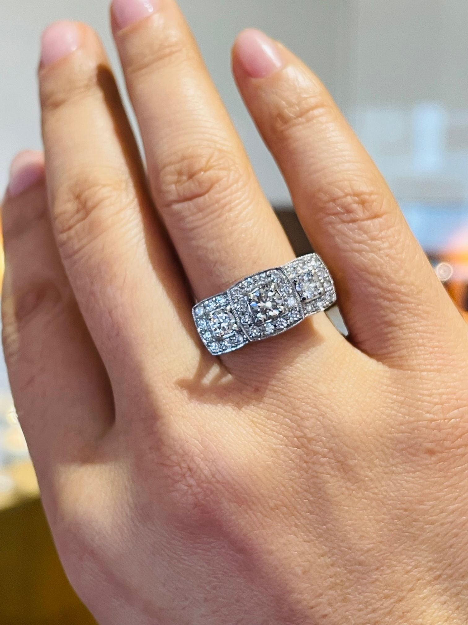 Platinum Brilliant Cut Diamond Treble Cluster Ring