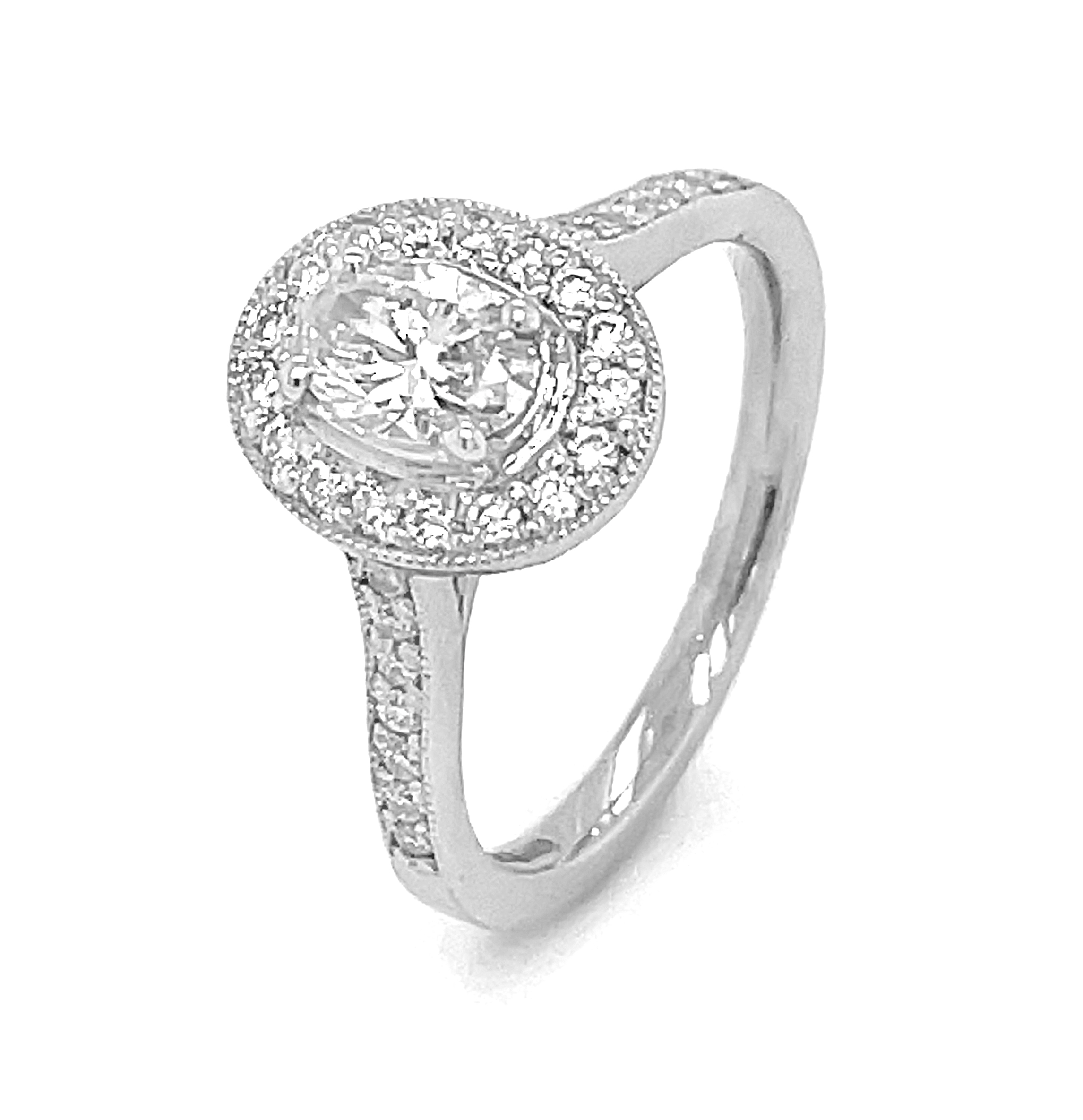 0.42cts Oval Diamond Cluster Ring