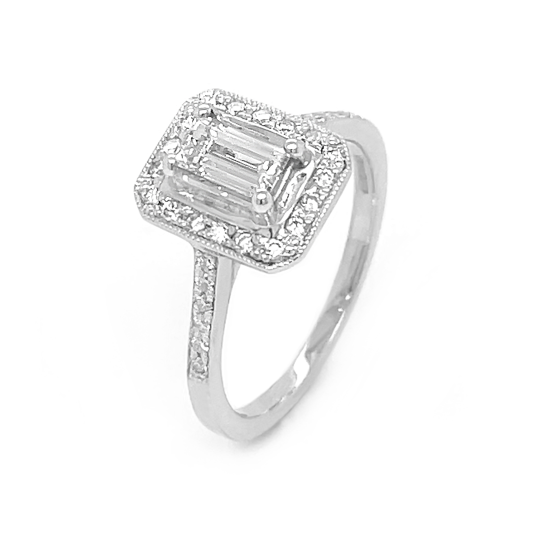 18k White Gold Emerald Cut & Brilliant Cut Diamond Cluster Engagement Ring
