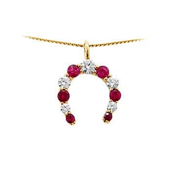 18k Yellow Gold Ruby & Diamond Horseshoe Pendant On Chain