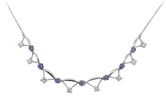 18k White Gold Sapphire & Diamond Necklace