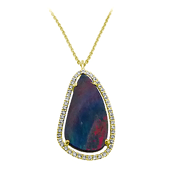 18k Yellow Gold Opal & Diamond Cluster Pendant On Chain