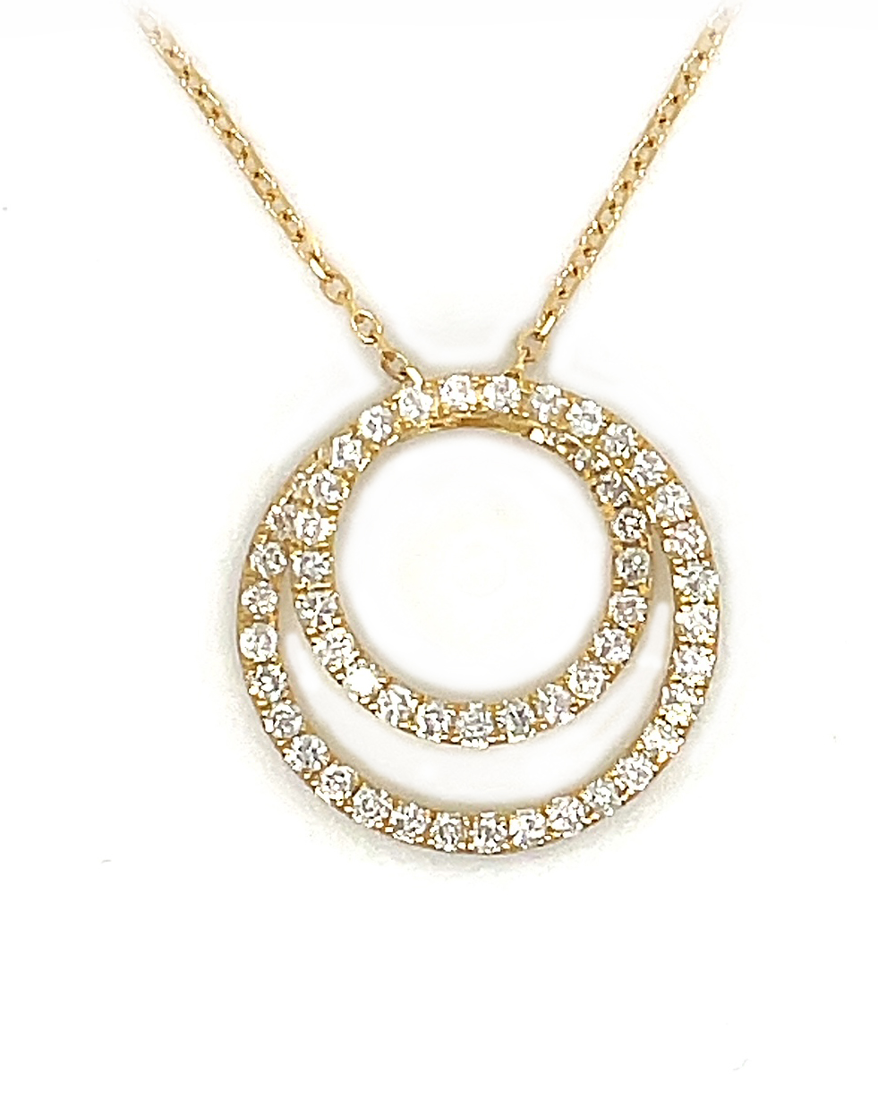 18k Yellow Gold Double Circle Pendant On Chain