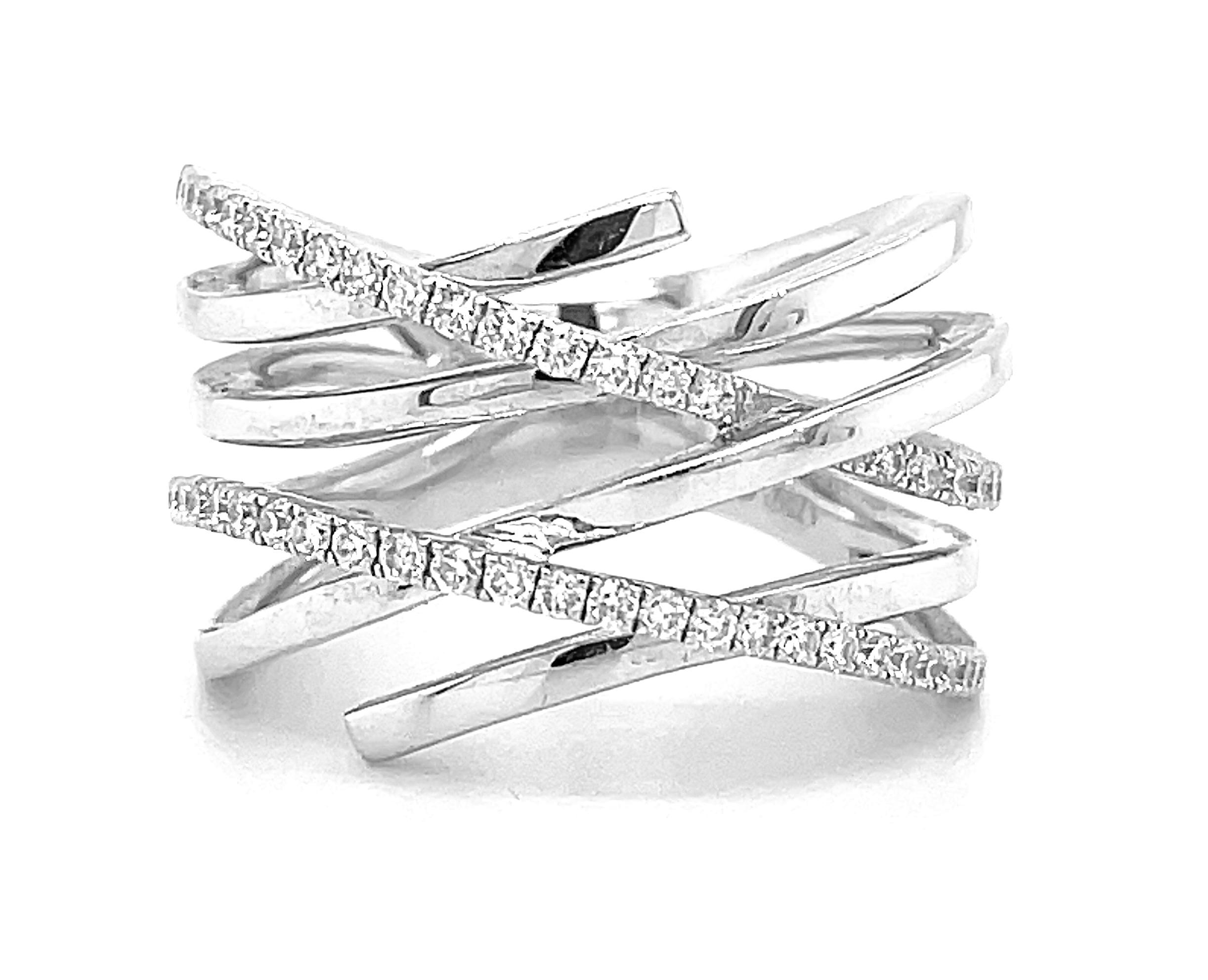 18k White Gold Brilliant Cut Diamond Crossover Dress Ring