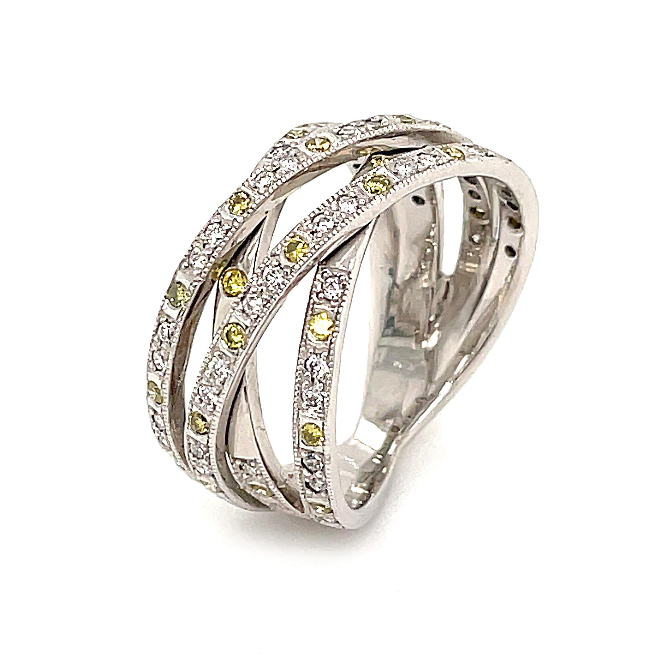 18k White Gold Yellow & White Diamond 4 Row Crossover Dress Ring