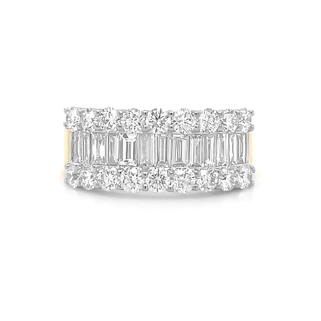 18k Yellow And White Gold 3 Row Diamond Dress Ring