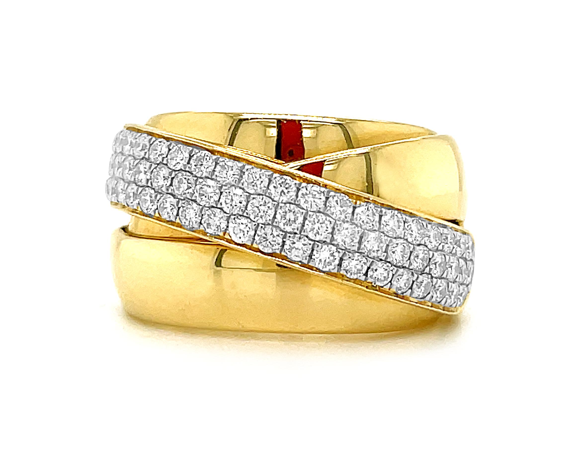 18k Yellow Gold Dress Ring With Brilliant Cut Diamond