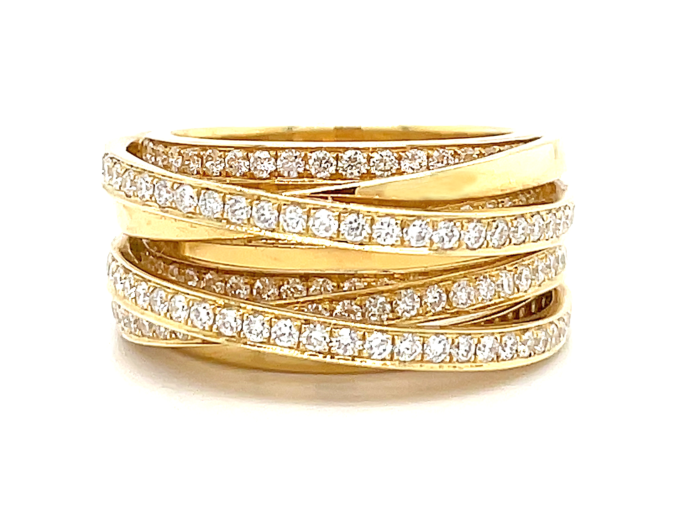 18k Yellow Gold Brilliant Cut Diamond Fancy Dress Ring