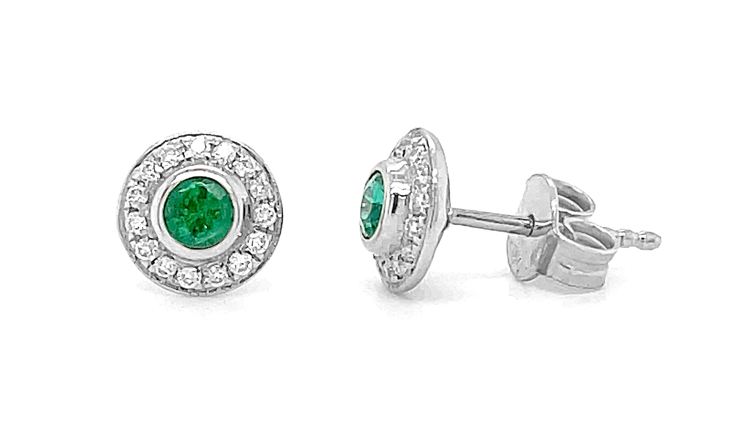Round Emerald & Diamond Cluster Stud Earrings