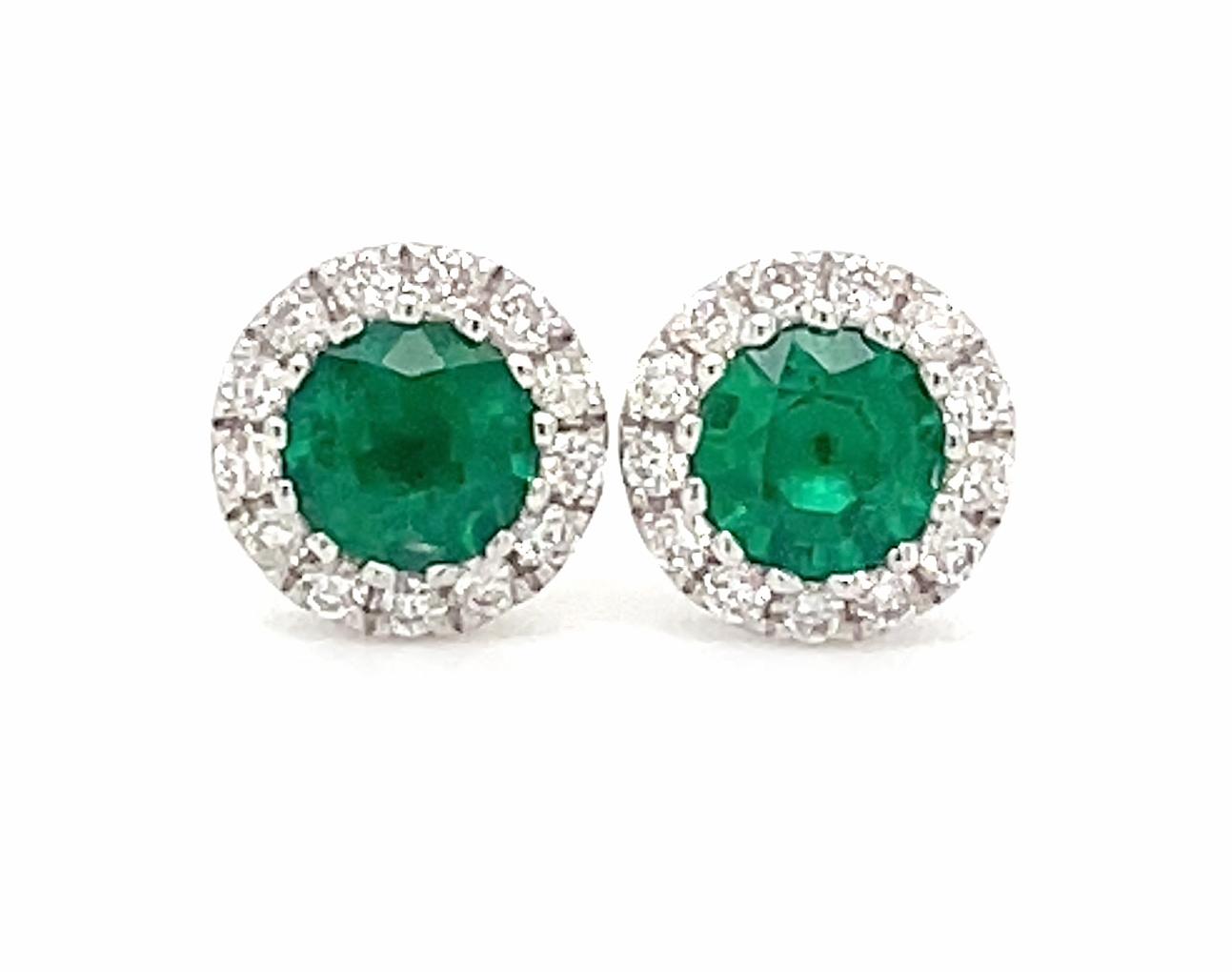 18k White Gold Round Emerald & Brilliant Cut Diamond Cluster Stud Earrings