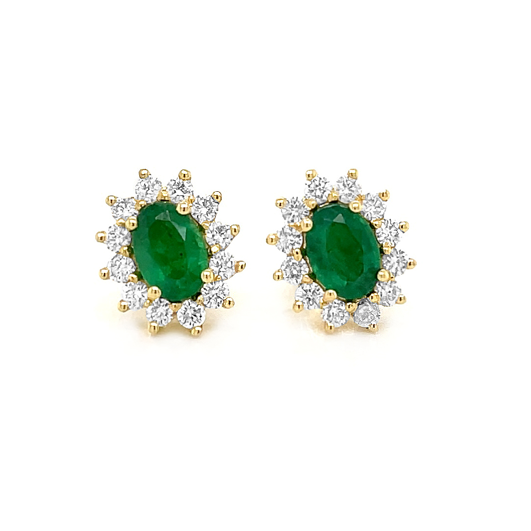 18k Yellow Gold Oval Emerald & Brilliant Cut Diamond Cluster Stud Earrings