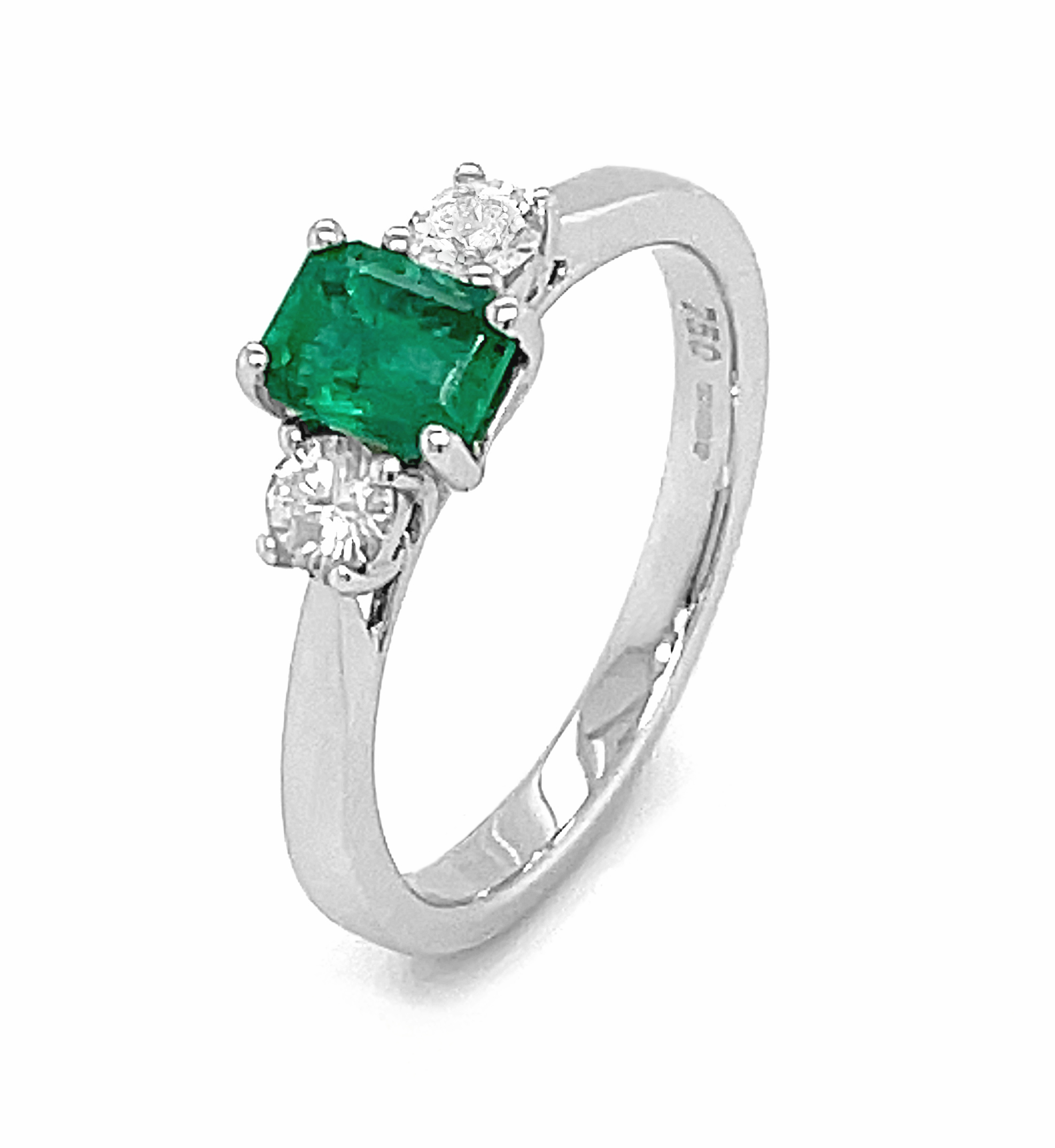 3 Stone, Octagonal Emerald Engagement Ring