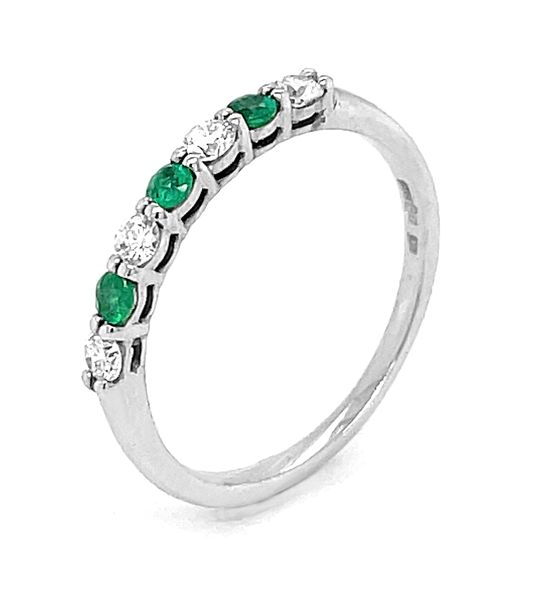 18k White Gold 7st Round Emerald & Brilliant Cut Diamond Eternity Ring