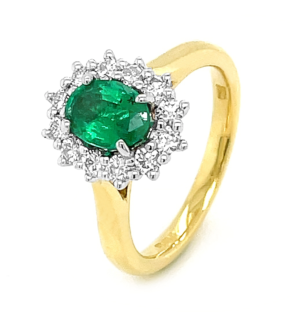 18k Yellow & White Gold Oval Emerald & Brilliant Cut Diamond Cluster Ring
