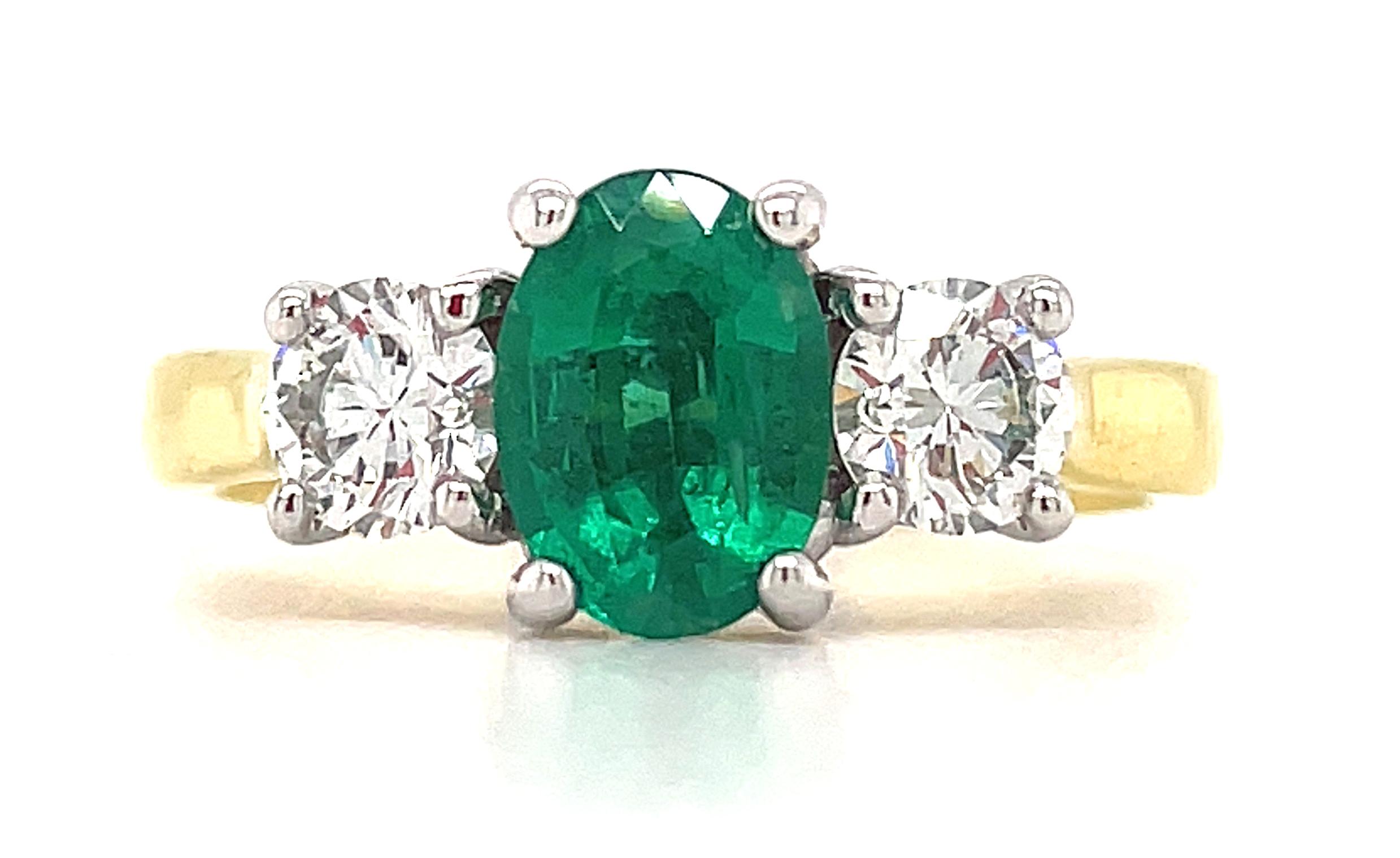 18k Yellow And White Gold 3 Stone Oval Emerald & Brilliant Cut Diamond Ring