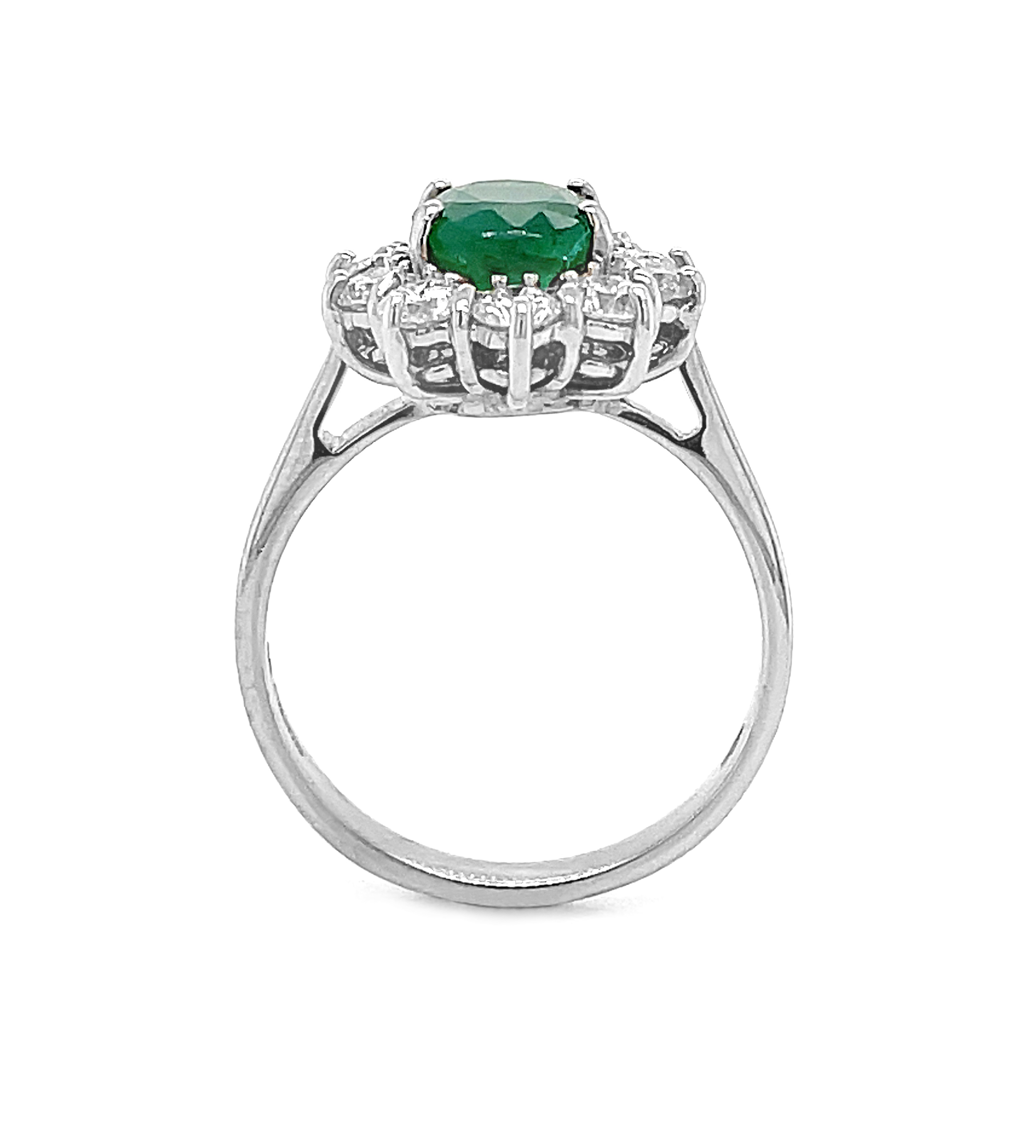 18k White Gold Oval Emerald & Brilliant Cut Diamond Cluster Ring