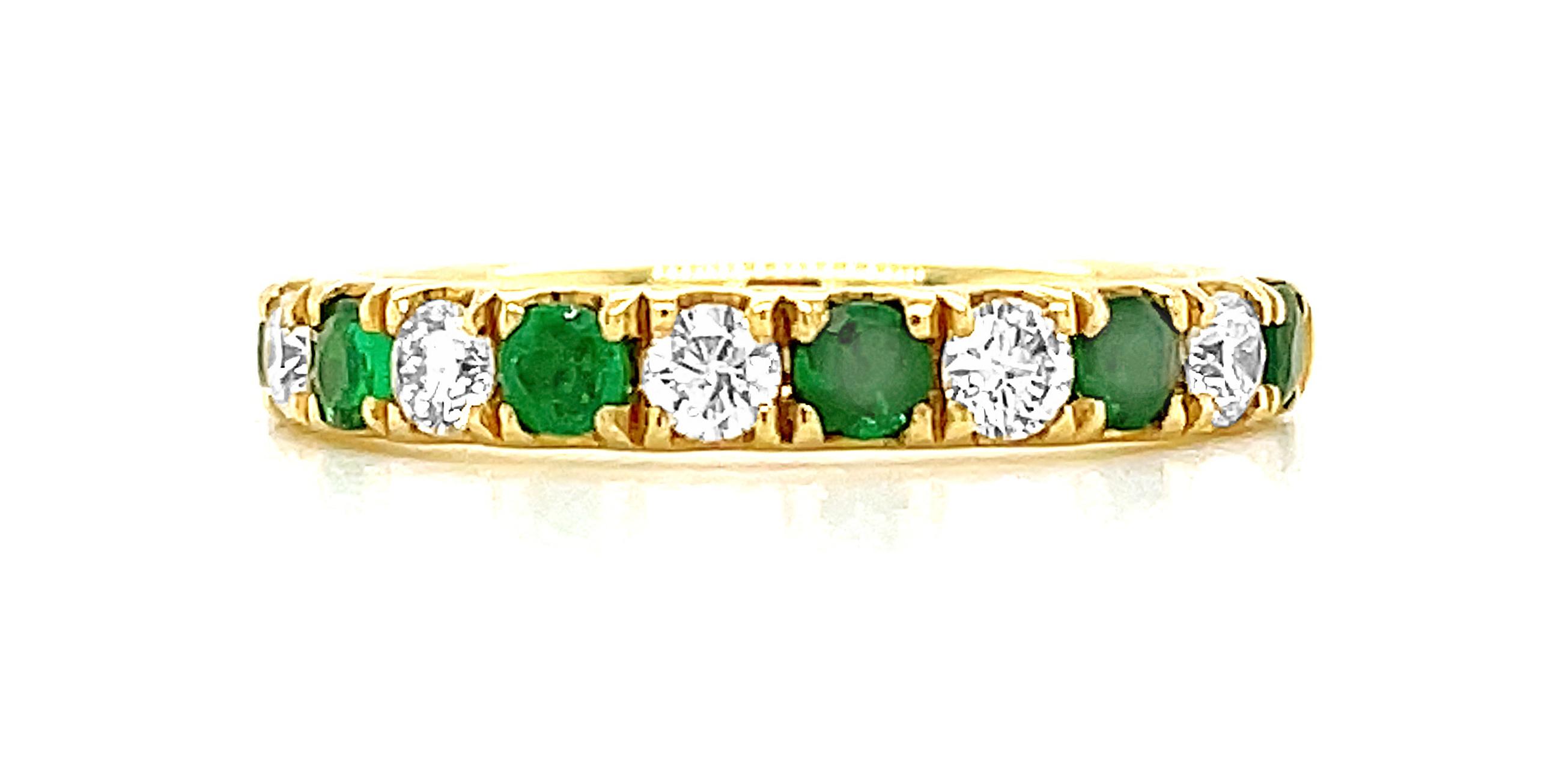 18k Yellow Gold Round Emerald & Brilliant Cut Diamond Eternity Ring