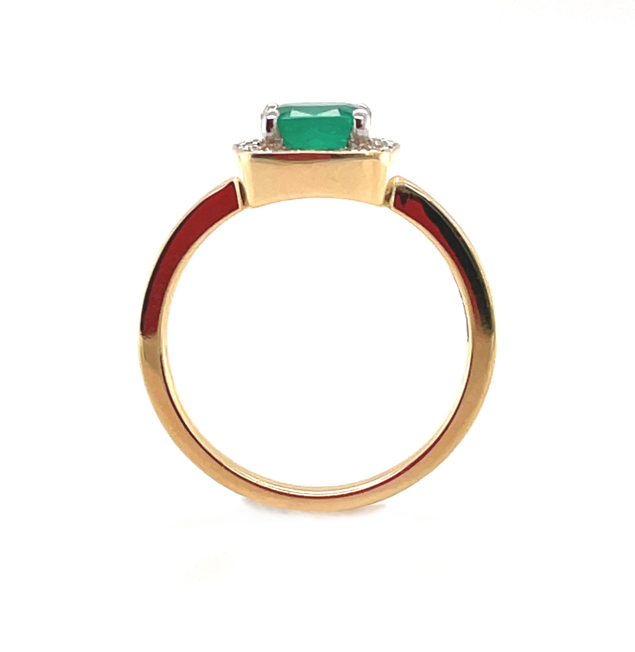 18k Yellow Gold Cushion Emerald & Diamond Cluster Ring