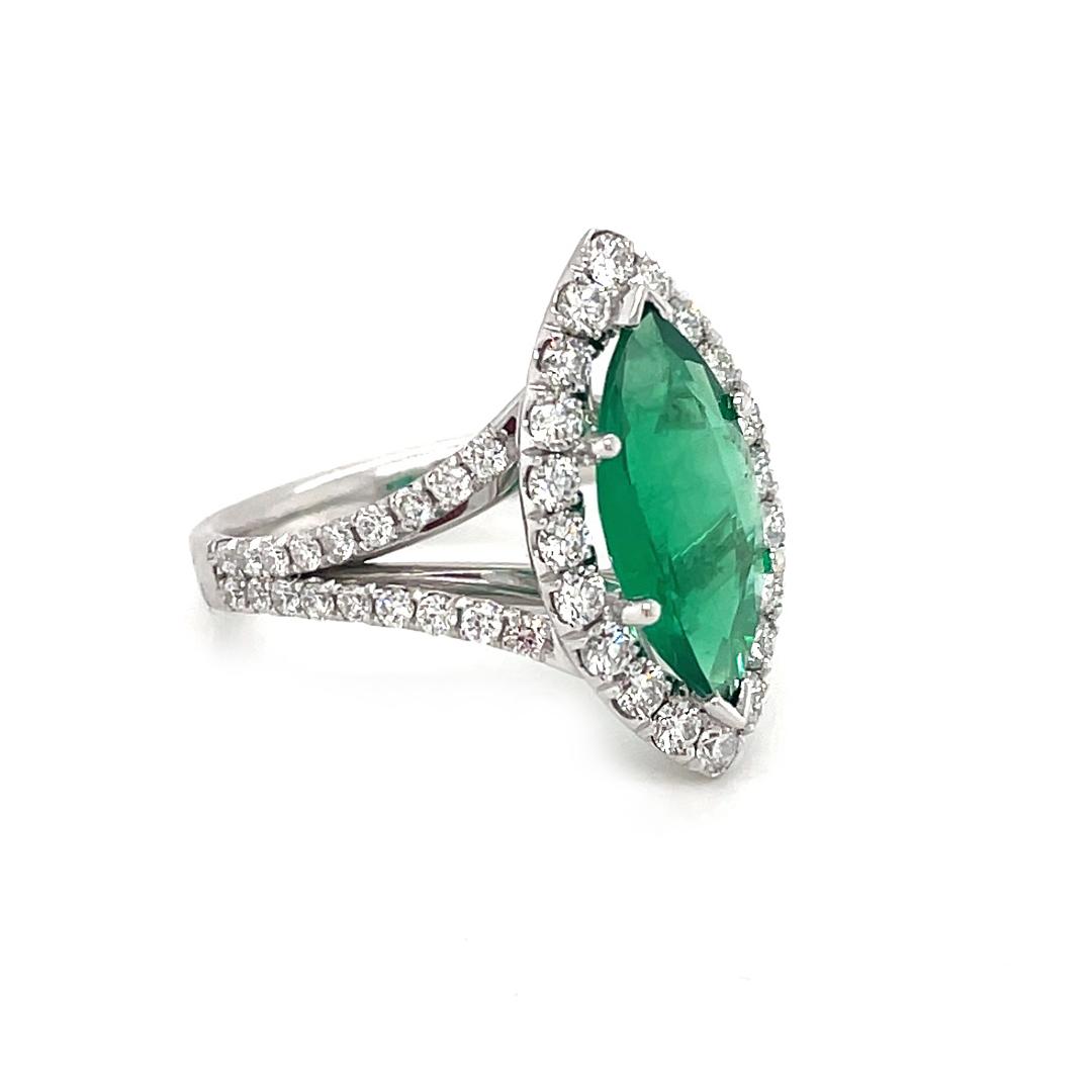 18k White Gold Marquise 1.80cts Fine Emerald & Brilliant Cut Diamond Cluster Ring