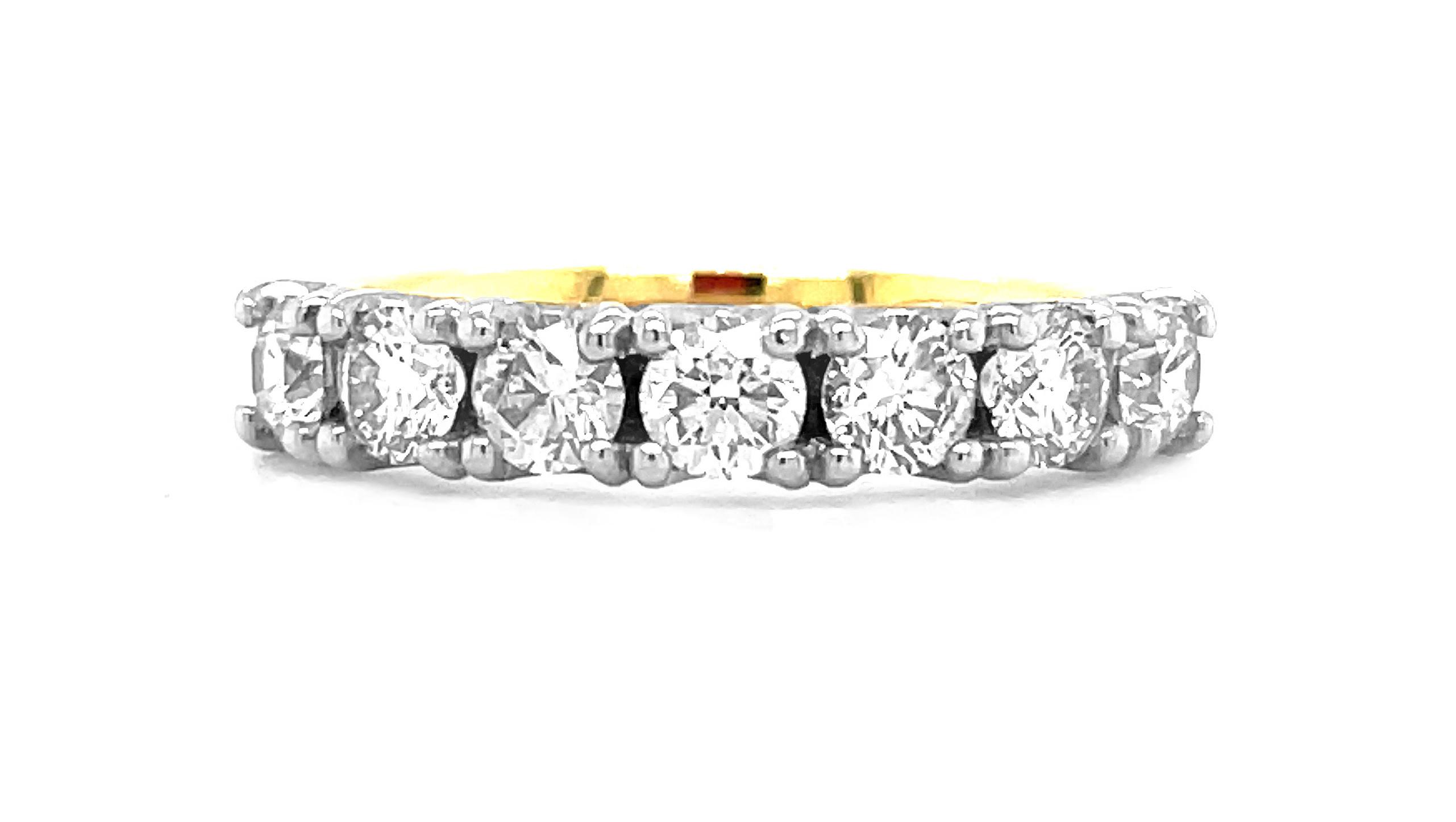 Platinum & 18k Yellow Gold 7 Stone Brilliant Cut Diamond Ring