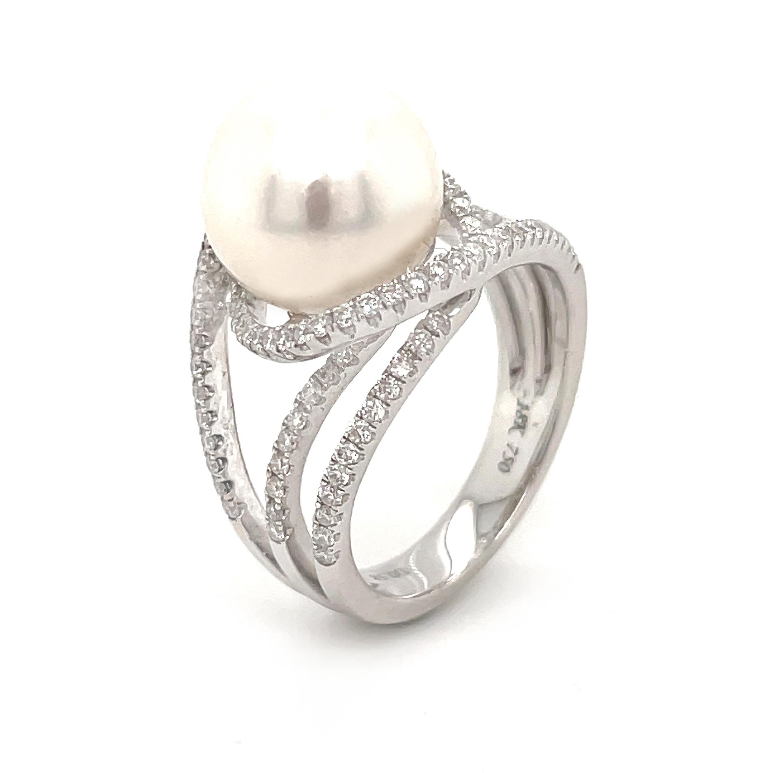 18k White Gold 11mm Pearl & Brilliant Cut Diamond Dress Ring