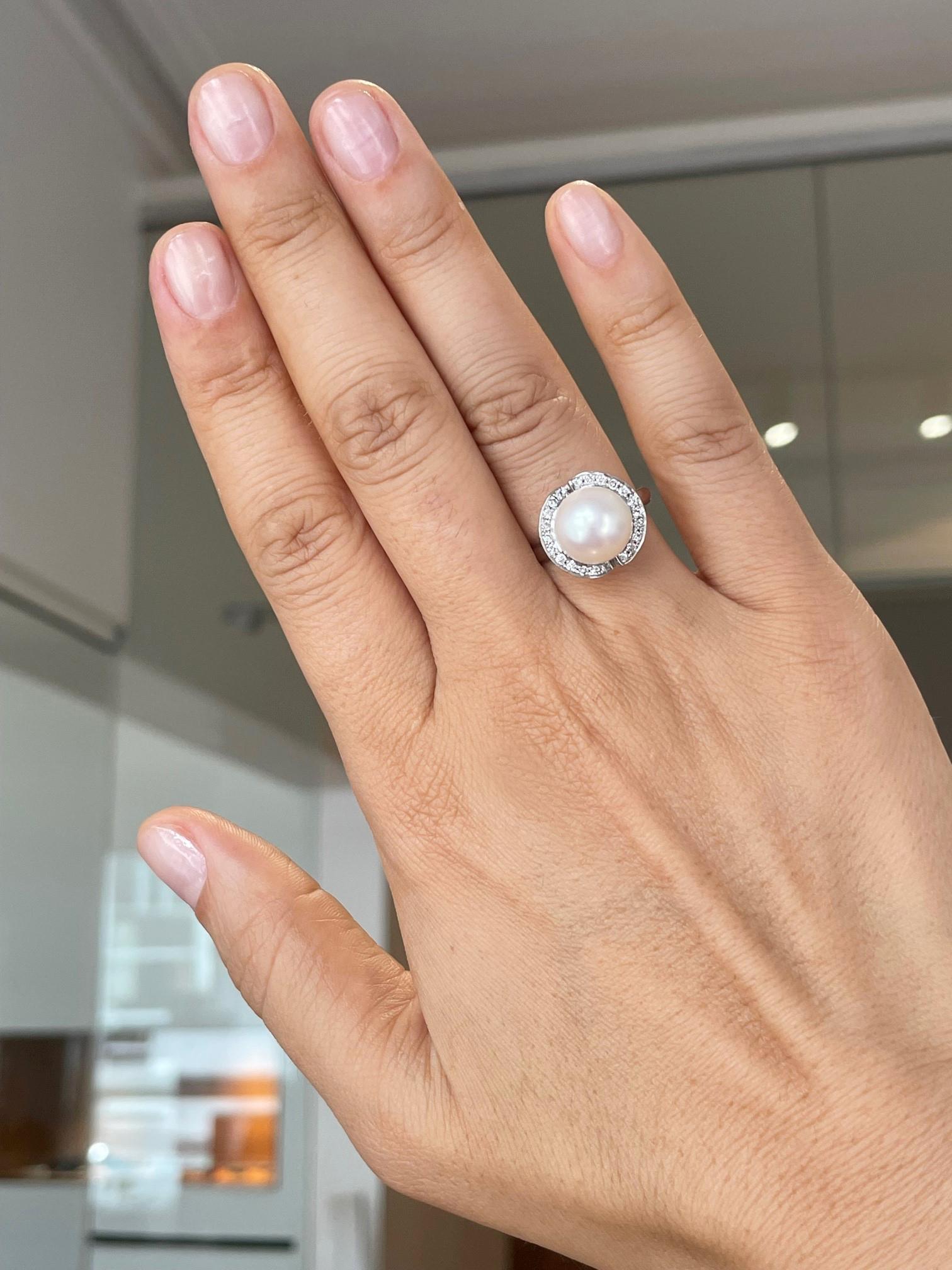10k White Gold 10mm Pearl & Diamond Dress Ring