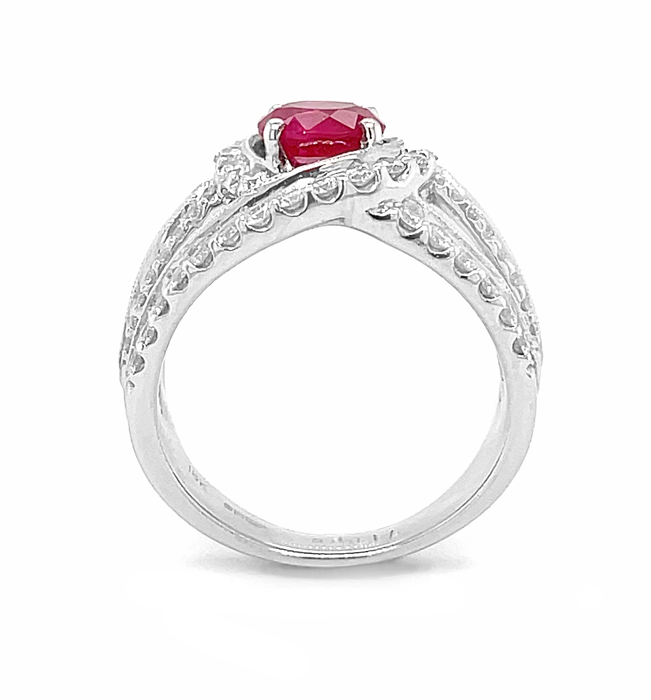 White Gold Dress Ring With Round Ruby & Brilliant Cut Diamonds