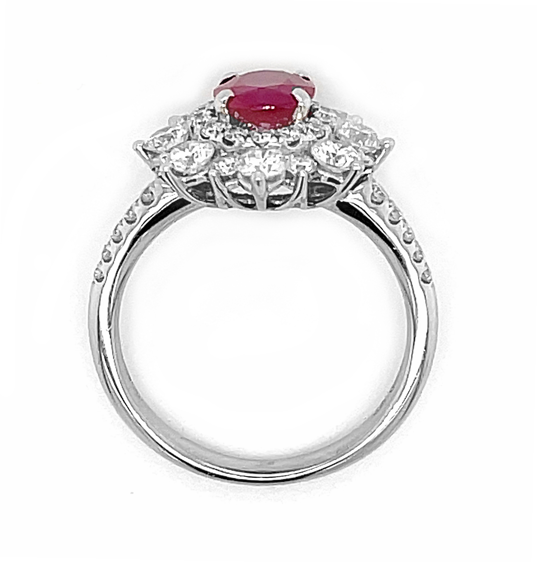 18k White Gold Oval Ruby & Brilliant Cut Diamond Cluster Ring