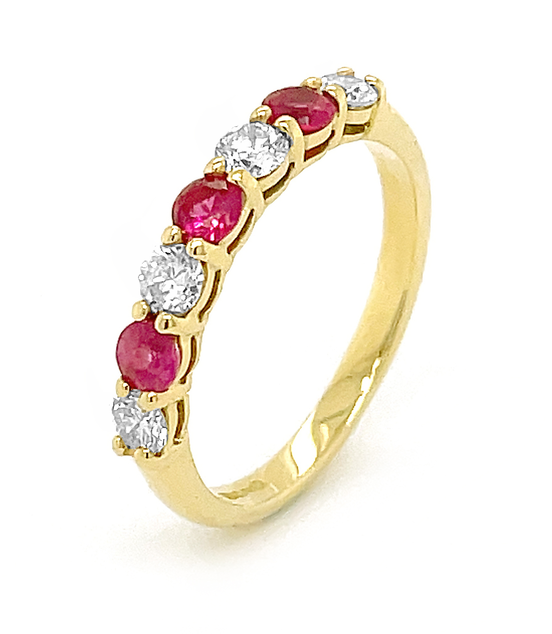 18k Yellow Gold 7 Stone Round Ruby & Brilliant Cut Diamond Ring