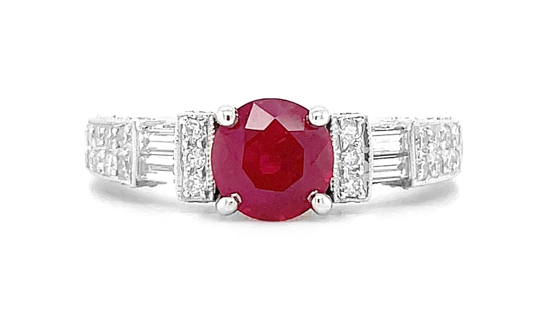 18k White Gold Round Ruby & Brilliant Cut Diamond Solitaire Ring, Diamond Shoulders
