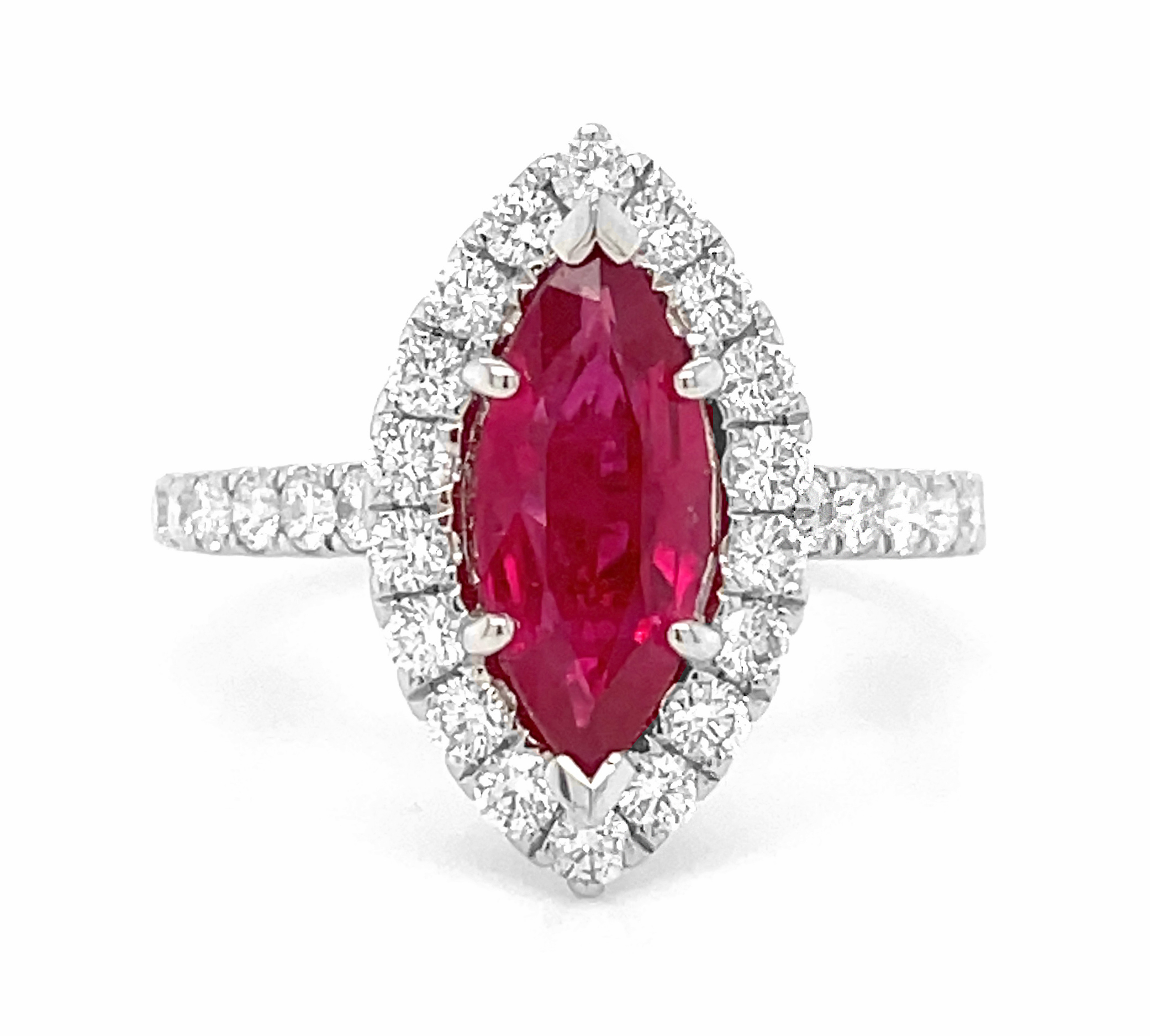 18k White Gold Marquise Ruby & Brilliant Cut Diamond Cluster Ring