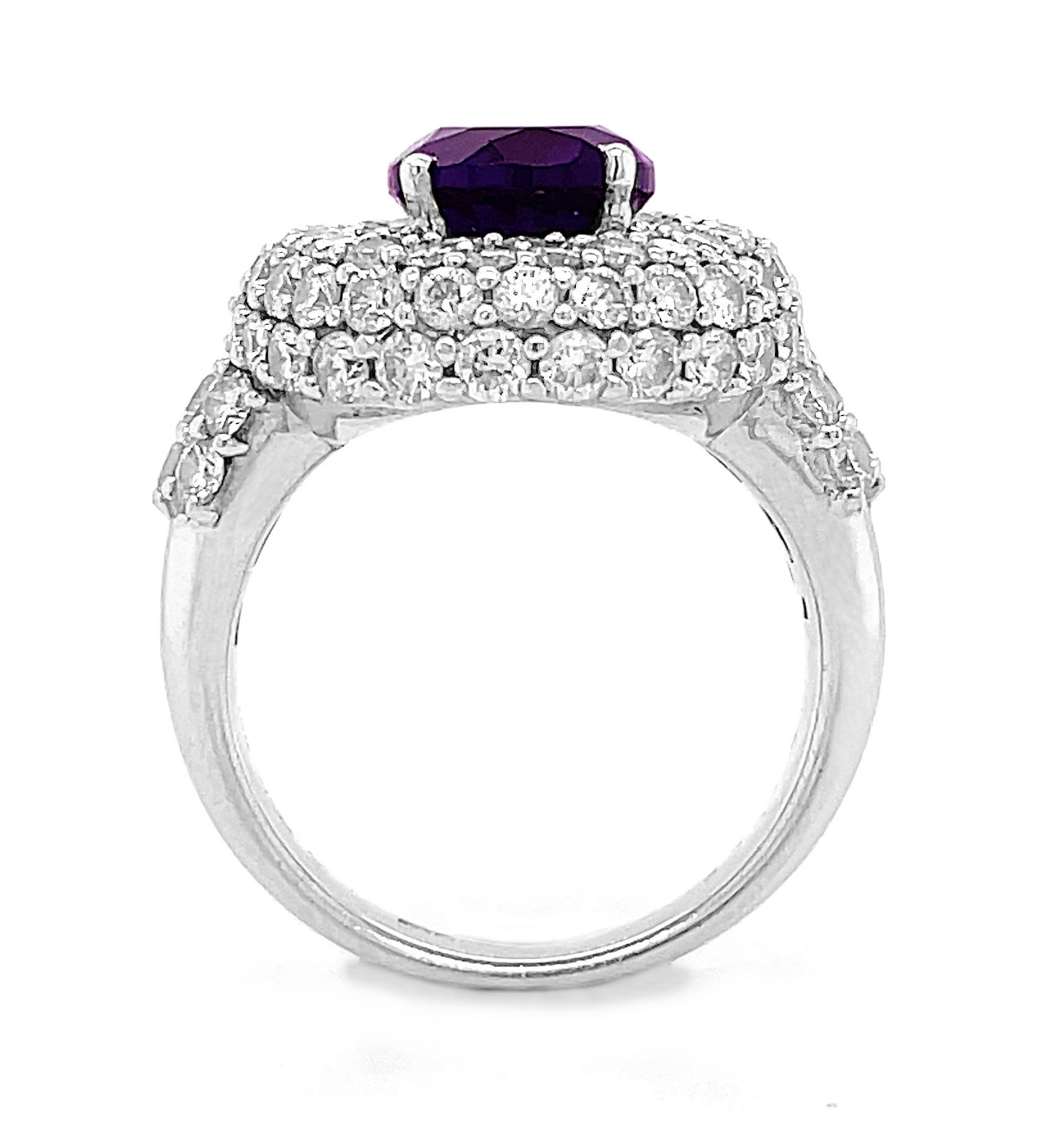 18k White Gold Oval Amethyst & Brilliant Cut Diamond Cluster Ring